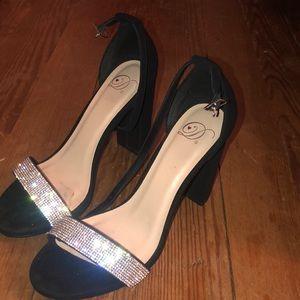Black Block Heels w/ Silver Rhinestones